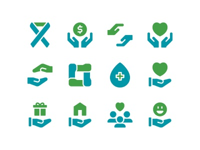 Charity Icon Set solidarity unity support community logo donation community charity icon set icons icon