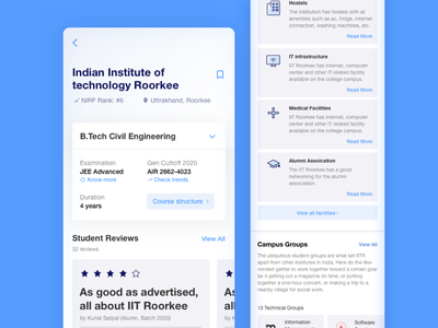 JEE Counsellor | College Page | Reimagining my initial projects app cards android ui ux design
