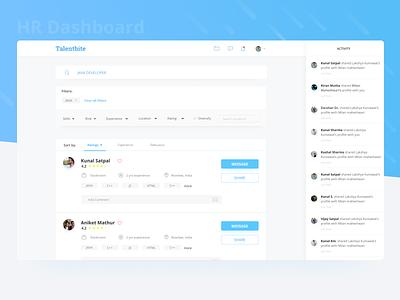 Talentbite | HR panel share message filter search panel website cards ux ui design