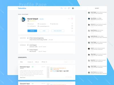 Talentbite | Profile page web app clean message share sort questions code website cards ui ux design