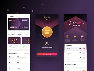 Fitclub | Screens | Internship at Cure.fit 2019 fitclub rewards android cards app ui ux design