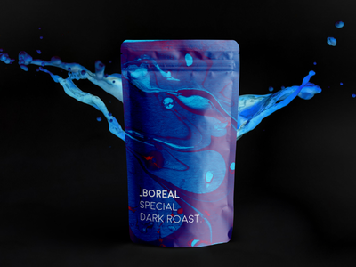 Boreal Coffee blue purple northern aurora boreal packaging cafe brunch coffee