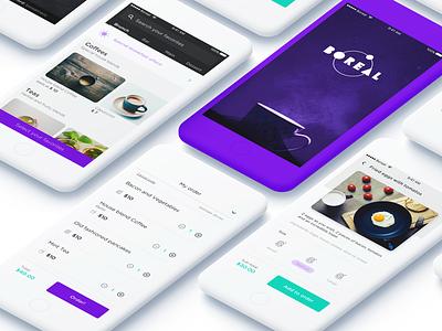 _Boreal App restaurant purple prototype menu interaction green food digital cafe boreal bar app