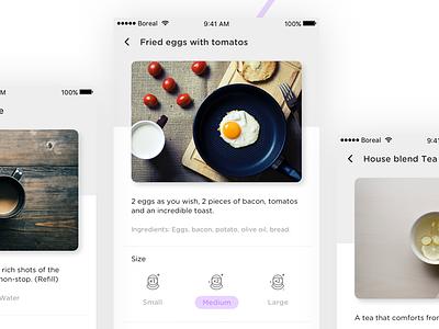 _Boreal App restaurant purple prototype menu interaction astronaut food digital cafe boreal bar app