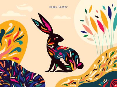 Happy Easter design symbol banner character nature decorative hare animal vector celebration easter flyer illustration happy easter easter bunny easter