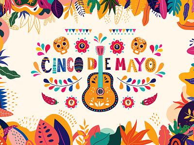 Mexico Cinco de Mayo cartoon vector illustration celebration holiday skull guitar mexican cinco de mayo mexico