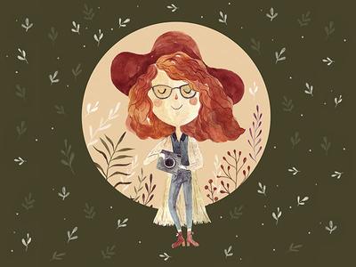Hello Dribbble! photographer blogger watercolor fashion girl illustration