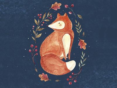 Watercolor fox logo drawing character animal moleskostudio illustration fox watercolor