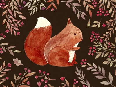 Watercolor illustration with squirrel character cute animals drawing illustration watercolor squirrel