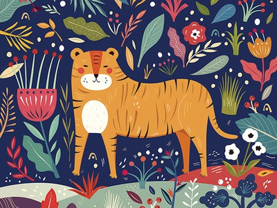 Illustration with cute Tiger print vector cute tiger flower illustration character nature animal