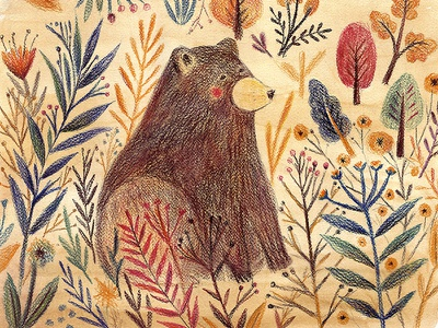 Cute Bear kids room illustration forest artwork poster kids bear animal cute sketch drawing pastel