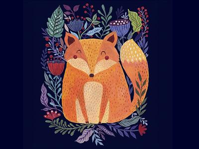 Fox illustration hand-painted character artistic art artwork animal fox drawing painting acrylic