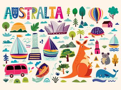 Australian symbols icon city decorative cartoon animals map symbols clipart illustration australia