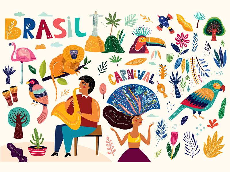 Brazil collection character elements icons carnival cartoon animals travel symbols illustration brazil