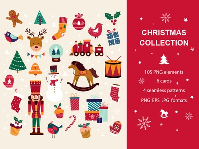 Christmas Collection character christmas gift collection postcard gifts background wrapping symbols cartoon christmas wallpaper illustration snowman christmas symbols vector new year christmas