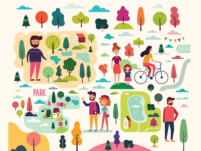 Vector set with icons. People on the walk colorful children character bike bicycle background autumn art active family peoples nature tree poster outdoor park people icons woman man people