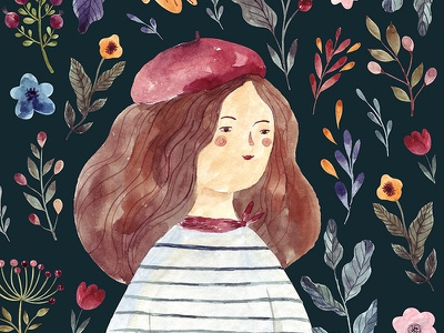 Watercolor illustration with girl french girl beret watercolour bookillustration sketching sketch painting aquarelle character design woman artistic handdrawn drawing watercolor illustration girl
