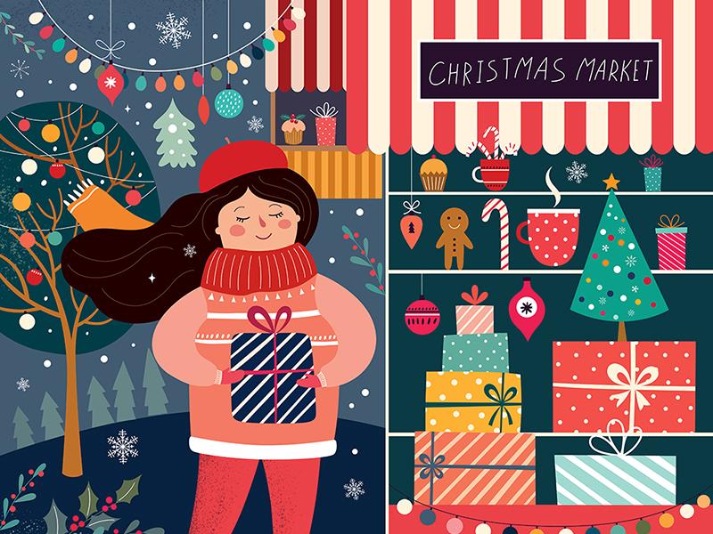 Christmas christmas decoration christmas sale flyer christmas card girl vector character art christian design christmas market illustration christmas