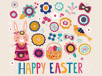 Easter illustration hare easter bunny pattern vector illustration easter