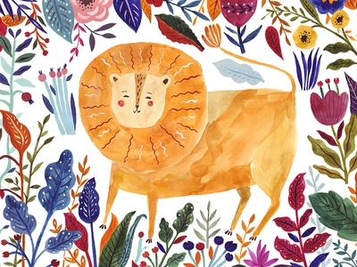 Watercolor Illustration with Lion botanical leaves art poster painting drawing character webdesign flowers floral nature wildlife lion watercolor painting illustration watercolor art watercolor