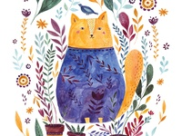 Watercolor Cat branches floral flower cat illustration spring aquarelle painting nature botanical cute animal surface design character design character hand drawing poster design cute animals watercolor cat cat watercolor illustration watercolor
