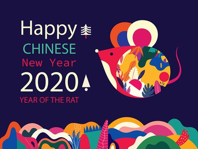Happy Chinese New Year greetings card emblem trendy logo colorful design web banner animal illustration logo vector symbol mouse rat chinese new year happy new year 2020