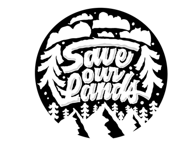 Save our Lands cloud mountain tree sticker illustration design nonprofit lettering outdoor