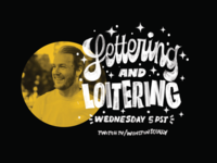 Come hang out for my first Twitch stream! typography stream sketch sparkles design lettering twitch