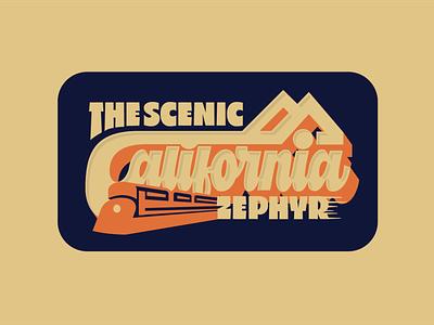 The scenic California Zephyr! lettering art vintage badge train illustration lettering