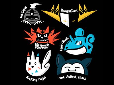 My Pokemon team and their names pokemongo sticker dusclops dragapult togekiss incineroar lapras snorlax lettering illustration pokemon
