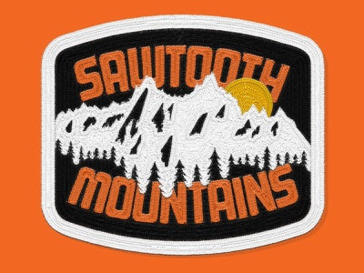 Sawtooth Mountains Patch mockup typography lettering art sun camping national forest sawtooth idaho mountains lettering patch