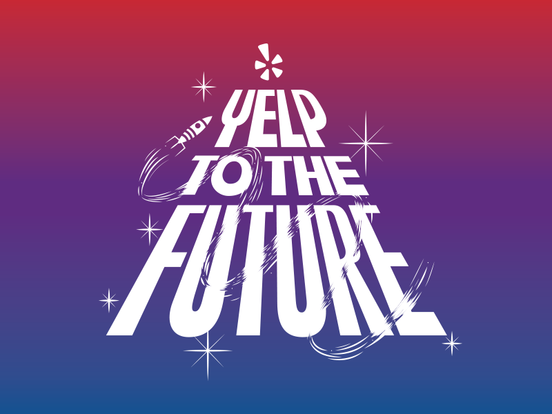 Yelp To The Future (conference branding) space gradientz conference illustration lettering