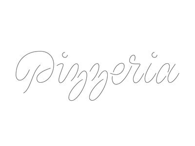 Pizzeria lettering script pizza