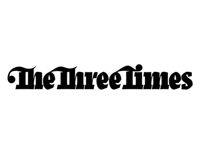 The Three Times masthead newspaper type lettering