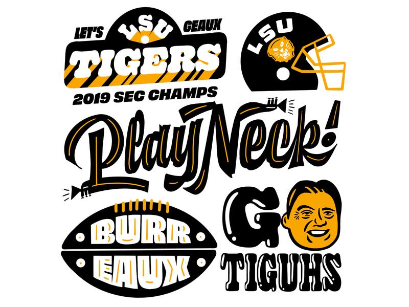 GEAUX TIGUHS tigers orgeron coach o gooper helmet illustrations football design typography lettering football