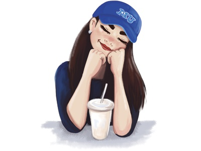 Day dreaming coffee blue illustration girl monsters u day dreaming
