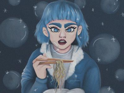 Noodles for the soul blue bubbles ilustradora blue hair foodie food ramen
