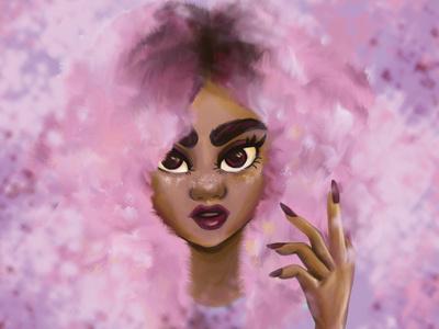 Afro girl photoshop digital art kawaii girl fashion illustration illustration hair afro pink hair pink