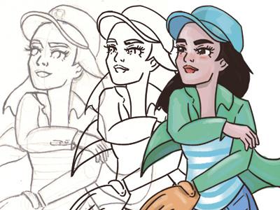 Illustration process sports baseball girl ilustradora ilustracion illustration process progress wip cartoons character character design