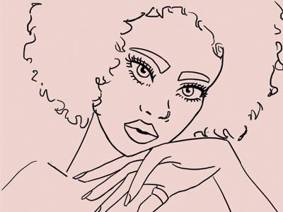 Afro girl II girl pink afro digital art illustration fashion illustration character design lineart