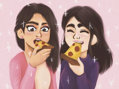 Best friend and Pizza happiness bff girly bestfriend girl pink pizza