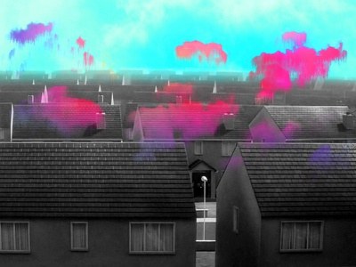 Requiem for a Dream blackandwhite visual style visual art home visual accomodation dreamy housing designer turquoise pink blue cloud dream houses photoshop collage mood illustration design