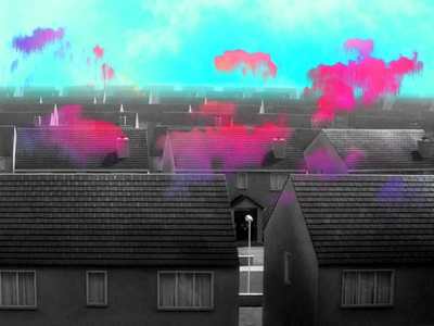 Requiem for a Dream designer turquoise pink blue cloud dream houses photoshop collage mood illustration design