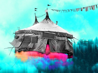 Circus Job proposal idea clouds dream colours turquoise pink blue photoshop illustration job circus cirkus