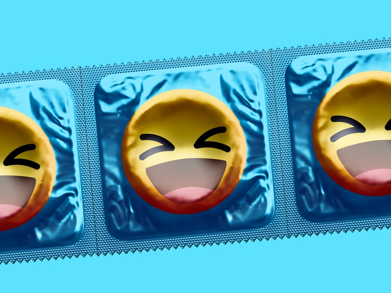 Condoms   Better Design poster visual style packaging cover emojis illustration sexy emoticon emoji blue designer design packages smiley face condom package condoms sex