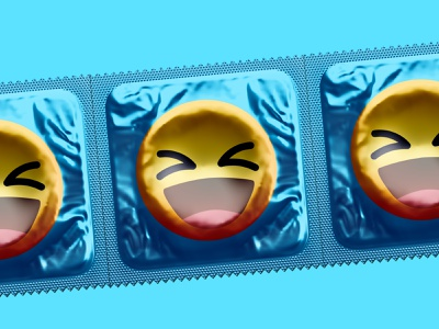 Condoms | Better Design poster visual style packaging cover emojis illustration sexy emoticon emoji blue designer design packages smiley face condom package condoms sex