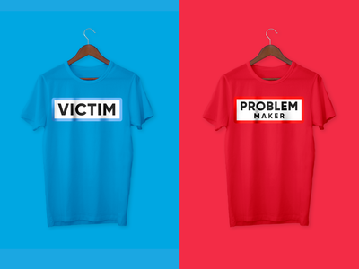 Unisex Couple's T-shirts visual art logotype simple victims makers problems illustrations design illustration red blue maker problem victim tshirts tshirtdesign own tshirt couple