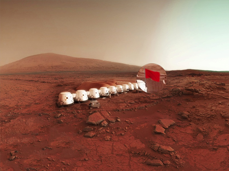 Mars One Flag migration occupation flag alternative future new life nature hospitality planet station mars one