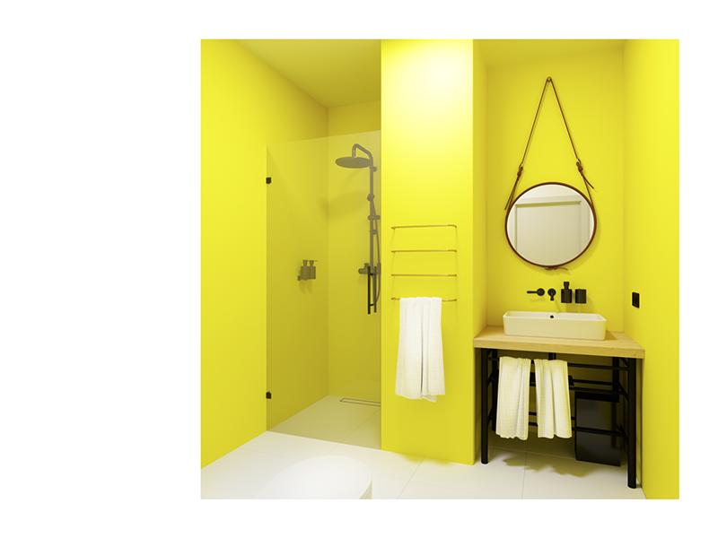 Bathroom Design – Motel AM neat clean morning fresh mirror dark background steel dark brown yellow room render motel one motel am leather hotel architecture design bathroom architecture 3d
