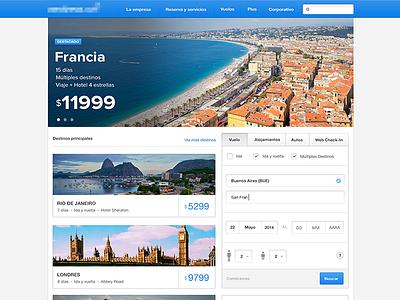 Airline website ux ui interface travel airline blue header promotions redesign form london rio de janeiro website